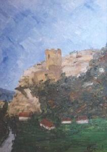 Ruines de Flakenstein, huile sur panneau, 30x23