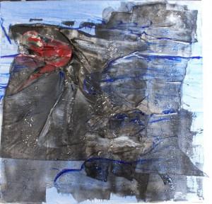 Recycling, acte II, scène 1 - Marée noire, acrylique et collage, 40x40