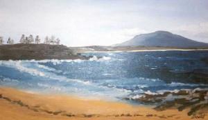 La plage de Bermagui, huile sur toile, 30x50