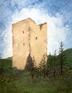Ruine de Milandre. Huile sur toile, 40x30