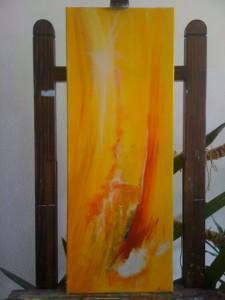 Peinture en faveur des victimes de la famine en Afrique. Acrylique sur toile, 75x30, vendu