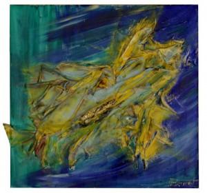 Recycling, acte I, scène 2, acrylique et collage sur toile, 40x40